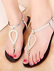 Ruihan Real Leather Medium Low Heel Electroplate Mental Seeshells Thong Sandal