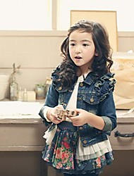 Girl's Fall Wear Blue Denim Jacket with Long Sleeve and Floral Skirt Clothing Sets