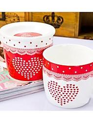 taza de cerámica del corazón del amor con tapa patrón aleatorio, 10x8.6x8cm