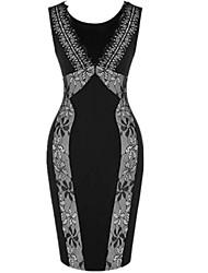 Robe Aux femmes Gaine Sexy / Soirée , Mosaïque Col Arrondi Mini Polyester / Dentelle / Coton Organique