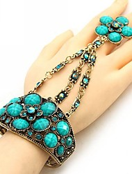 Fashionable National Hollow Out Flower Style Bracelet with Ring (More Colors)