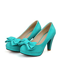 Suede Women's Chunky Heel Heels Pumps/Heels Shoes with Bowknot(More Colors)