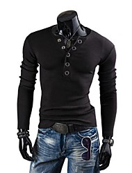 Zian® Men's V Neck Fashion Slim Prong Buckle Decoration Casual Brushed Long Sleeve Knit Sweater O