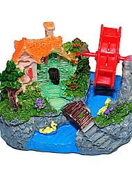 Casa Colorida con Waterwheel resina de la decoración del ornamento de Acuario