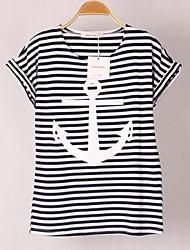 Damen Niedlich T-shirt Sommer Kurzarm Rot / Weiß Dünn