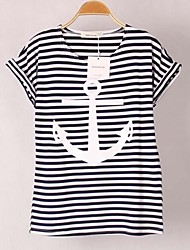 Women's Cute Summer T-shirt Short Sleeve Red / White Thin
