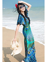 Women's  Hot  Sale  Deep V  Short Sleeve Maxi Dress