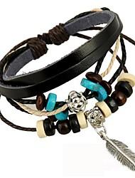 мода лист кулон кожаный браслет
