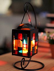 Square Iron Storm Lantern Style Black Candlestick with Hook