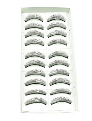 10Pairs European Natural Looking Handmade Darker Thicker Crossed High-grade Chemical Fiber False Eyelashes