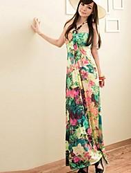Women's Floral Green/Purple Dress , Print/Sexy/Beach/Maxi Halter Sleeveless
