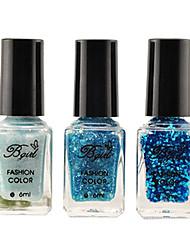 3pcs ácido azul cambiante del clavo del brillo del arte del clavo en polvo polish3pcs graduales establecidos en las ventas