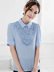 Intherway Women's Half Sleeve  Beading Blouse