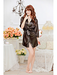 SexyMore Sexy Black Loose Fit Bathrobe With T-Back