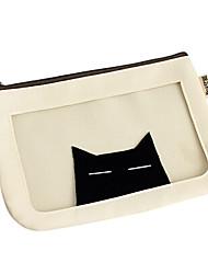 Cute Cat Translucent Waterproof White Cosmetic Bag