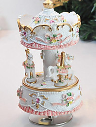 City of Sky Merry Go Round Music Box with Light (White)