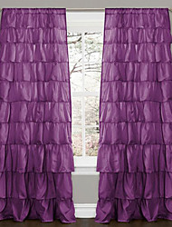 (One Panel Rod Pocket) Minimalist Solid Energy Multi Ruffle Curtain
