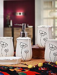 ensemble de bain, 5 pièce violet bordure argentée en céramique, accessoires de salle de bains