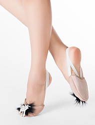 Fabric Half Ballet Slipper With Black Fur and White Imitation Pearl