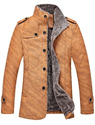 Men's Stand Collar Basic  Long Sleeve Thick Jacket  199