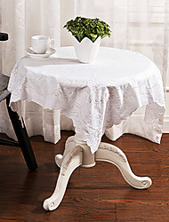 "Simple Style Embroidery Square White Table Cloth,50%Dacron and 50%Cotton 33.5""*33.5"""