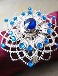 Multi Crystal Flower Napkin Ring,Metal, 4CM, Set of 12,