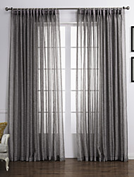 (Two Panels) Neoclassical Elegant Dark Grey Solid  Eco-friendly Sheer Curtain