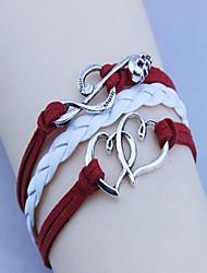 Unisex's Double Heart Music Notation  Wax Rope PU Handmade Woven Bracelet
