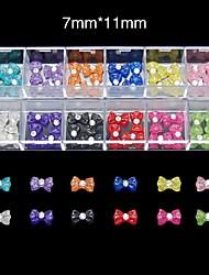 60pcs 12 couleurs bonbons nœud papillon de résine mis nail art décoration