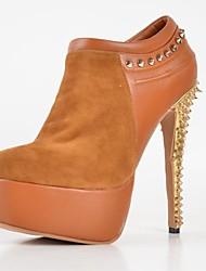 BC Women's High Heels Brown Rivets Platform Short Boots