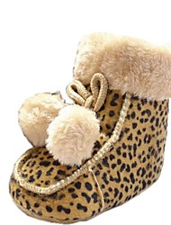 Cotton Girl's Flat Heel Snow Boots with Animal Print Shoes