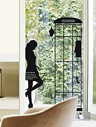 Createforlife® Black Phone Booth Outline Kids Nursery Room Wall Sticker Wall Art Decals