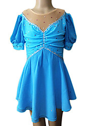 Robe de Patinage Femme Fille Manches longues Patinage Jupes & Robes Robe de patinage artistique Respirable Elastique Spandex BleuTenue de
