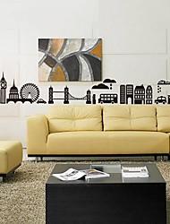 Createforlife ® Autocollant de pièce de crèche mur Wall Art Stickers London Skyline Black City enfants