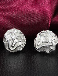 Lucky Doll Women's Silver Rose Earrings