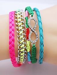 Multilayer colorida pulsera de cuero hecha a mano de circón