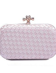 Women's Diamond hard shell bag fashion hand-woven hand bag evening bag dress(linning color on random)