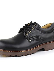 Men's Spring Summer Fall Winter Leather Office & Career Casual Low Heel Lace-up Black Brown Khaki
