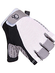 KORAMAN Cycling Gloves fingerless Anti-skid Shockproof Half Finger White&Black Protection Pad