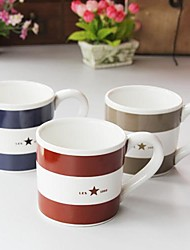estilo de la marina de guerra de la raya clásica de la taza de café de color al azar, 10x9x10.3cm