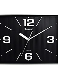 "Telesonic™ 13""x16""Style Square Shape Metallic Stripes Background Super Mute Wall Clock"