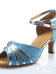 Chaussures de danse (Multicolore) - Personnalisable - Talons personnalisés - Paillettes scintillantes - Danse latine/Chaussures de Sport