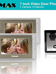 TMAX® Video Door Phone Doorbell Intercom System with 500TVL Night Vision Camera (1Camera to 2Monitors)