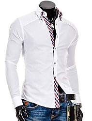 Men's Solid Work Shirt,Cotton Blend Long Sleeve Black / Blue / White