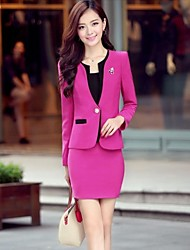 Women's Fashion Slim OL 3 Piece Work Suit(Coat & Skirt,T Shirt)