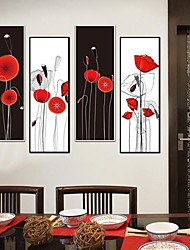 Red Flowerst  Framed Canvas Print Set of  4