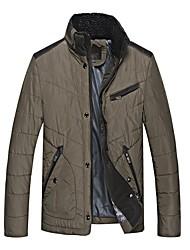 Men's Long Sleeve Short Coat , Cotton/Knitwear/Polyester/Twill/Wool/Fleece Pure