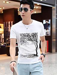 juhu Männer Rundhals-Ausschnitt Blumendruck Kurzarm-T-Shirt