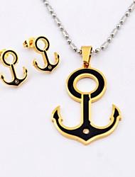 Anillo de acero Titanium de la manera y Anchor collares y pendientes Set de Joyas