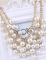 Women's Luxurious Silver Imitation Pearl Necklace Gemstone Jewelry Sets